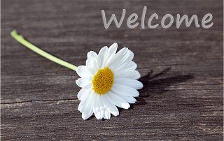 Fußmatte Welcome mit weißer Margarite